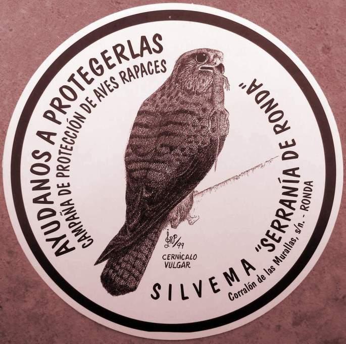 Pegatina de una de las campañas de Educación Ambiental que realiza Silvema, para la protección de las rapaces. (Autor del dibujo: Juan Luis Rios)