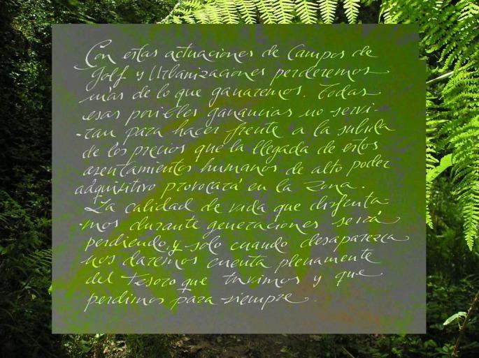 Manuscrito de Paco Marín, sobre la especulación y la calidad de vida
