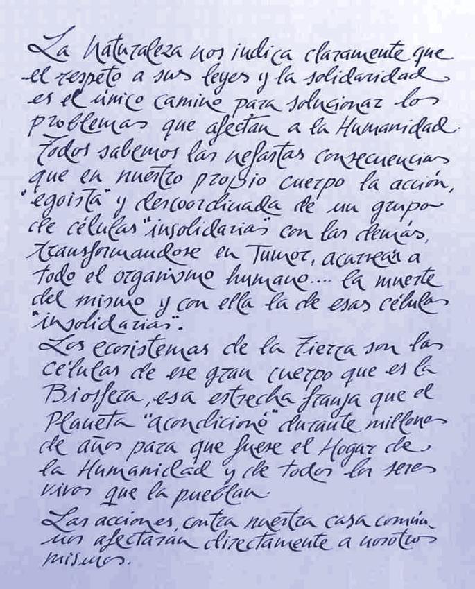"""Manuscrito de Paco Marín, con su característica caligrafía, sobre """"Nuestra casa común"""""""