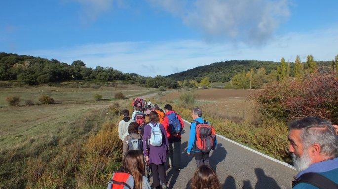 Antes de acceder a la finca, un tramo de la Cañada Real discurre por carretera, para el que se contó con el apoyo de la Guardia Civil.