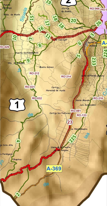 """Fragmento del mapa editado por la Delegación de Medio Ambiente del Excmo. Ayuntamiento de Ronda """"Catálogo de caminos rurales"""""""