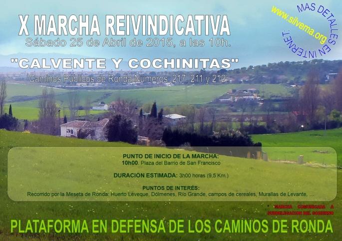 Cartel MARCHA X, 25ABR2015, Calvente y Cochinitas