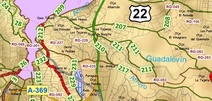 Marcha 20150425 Fragmento Mapa Ordenanza Caminos Ronda