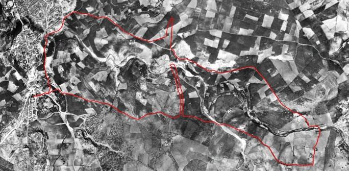 Recorrido marcha 21ABR2015 Calvente y Cochinitas, ortofoto 1956